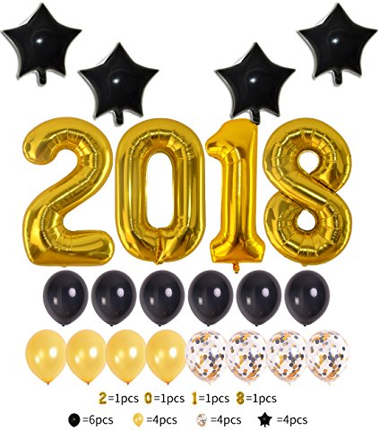 2018 Number Foil Balloons Set,Graduation Decorations Large Size Black Gold Latex Confetti Banner | Great for Graduations Party Supplies New Years Eve Party Anniversary Supplies(2018number)