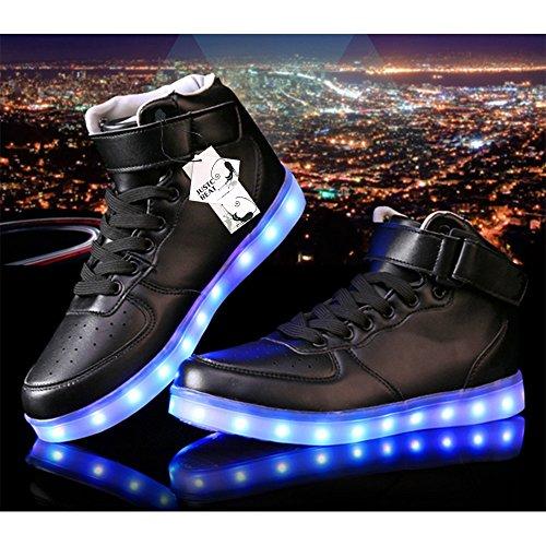 JustCreat Women Men High Top USB Charging LED Shoes Flashing Sneakers aykAih6RkE