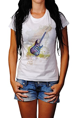 E-Gitarre Lady T- Shirt , Stylisch aus Paul Sinus Aquarell Old Style