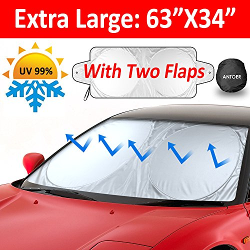 """ANTOER Car Sun Shade Travel Pouch, Large Sizes Windshield Sun Shade With 2 Ears Block Out 99% UV Rays Heat & Snow Car SunShade Keep Automobile Cool Easy to use 63""""x34"""""""