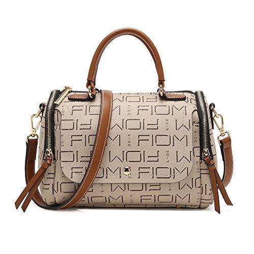 (Cooserry Purse Small Boston Zip Satchel Barrel Top Handle Handbags Shoulder Bags for Women, Khaki)