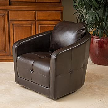 Bernhoft | Leather Swivel Club Chair | In Brown