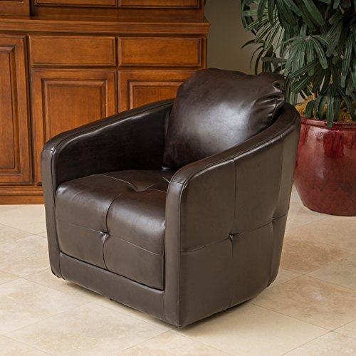 Bernhoft | Leather Swivel Club Chair | in Brown (Chair Club Leather Swivel)