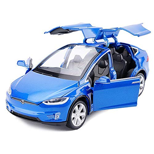 Toy Car Alloy Pull Back Cars with Sound and Light Kids Toys 1:32 Scale Model X 90 (Blue) -