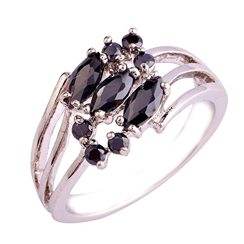 (Empsoul 925 Sterling Silver Natural Chic Filled Black Spinel Topaz Engagement Promise Ring)