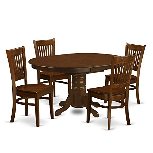 East West Furniture KEVA5-ESP-W 5 Piece Set Kenley Dining Table With One 18' Leaf And 4 Wood Kitchen Chairs In Espresso