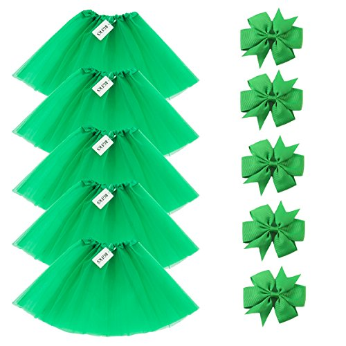 BGFKS 5 Pack Tutu Skirt for Girl Ballet Dance Costume Dress up Princess Party Girl Tutus with Butterfly Headdress 12 Colors Age 2-8(Green)