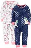Carter's Baby Girls' 2-Pack Cotton Footless Pajamas, Unicorn/Dino, 12 Months