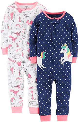 Carter's Baby Girls 2-Pack Cotton Pajamas, Unicorn/Dino, 18 (Carters Girls Sleeper)