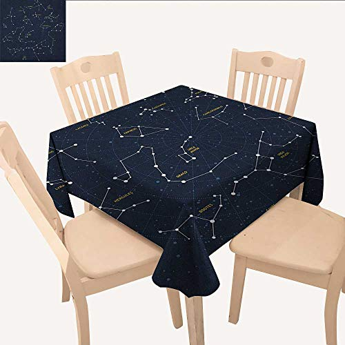 longbuyer Constellation Picnic Cloth Sky Map Andromeda Lacerta Cygnus Lyra Hercules Draco Bootes Lynx Dining Table Cover Dark Blue Yellow White W 54