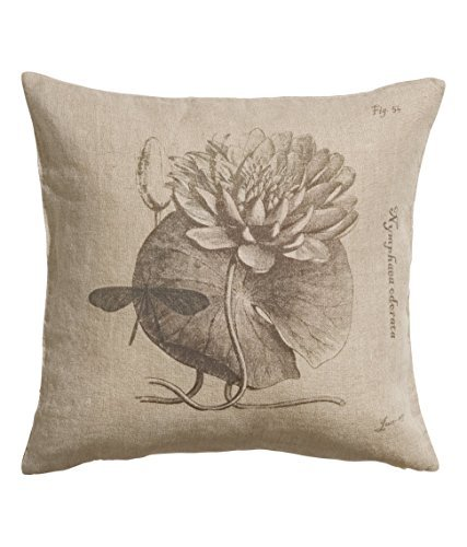 French Vintage Cottage Design Genuine 100% Linen Natural Flax Throw Pillow Cover Cushion Cover 20-by-20-inch Pure Linen Natural or White Water Lily Flower Text Script (Natural)