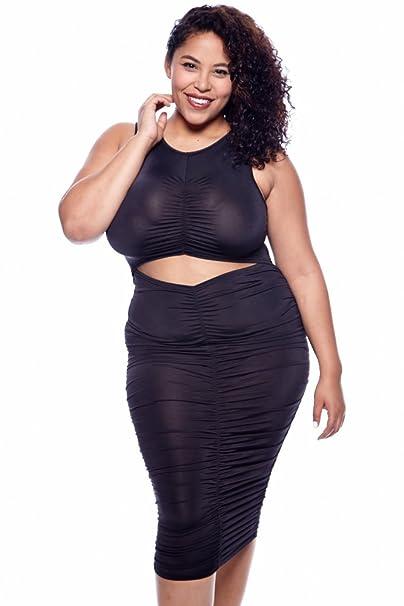 K Glam Plus Ruched Sleeveless Dress Gcd8094 (3xl, BLACK)