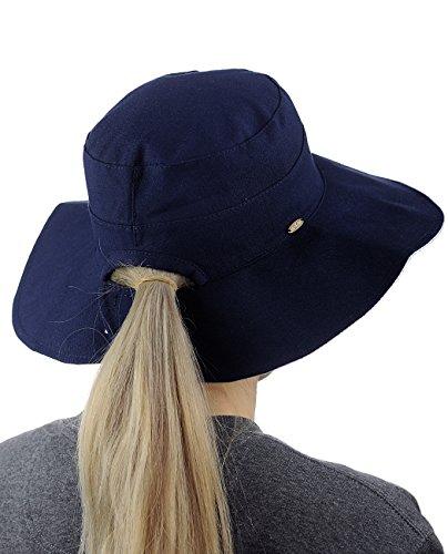C.C Women's Two Tone Reversible Crushable Floppy Beach Bucket Sun Hat, Navy/White (Women Blue Bucket Hats)
