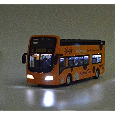 Ailejia City Bus Sightseeing Double Decker Bus Model Open Top Pull Back Toy Die Cast Pull Back Vehicles Mini Model Car Lights and Music (Red): Toys & Games