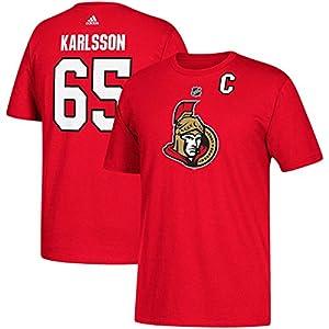 Ottawa Senators Erik Karlsson Adidas NHL Silver Player Name & Number T-Shirt