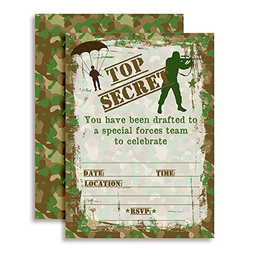 (Top Secret Camouflage Army Soldier Birthday Party Invitations, 20 5