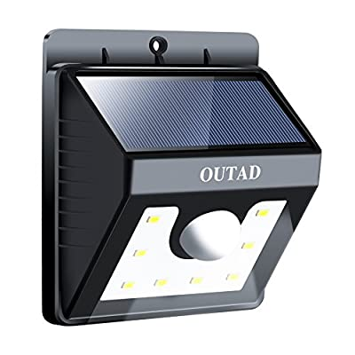 OUTAD Solar Lights ,8 LED Wireless Waterproof Motion Sensor Outdoor Light for for Patio, Deck, Yard, Garden with Motion Activated Auto On/Off