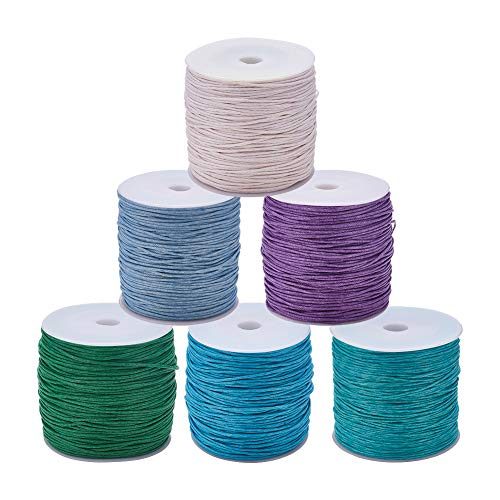 - JEWELEADER 6 Rolls About 485 Yards Round Waxed Polyester Cord 1mm Macrame Craft DIY Thread Rattail Beading String for Jewelry Making Chinese Knotting Kumihimo Shamballa Friendship Bracelet Light Color