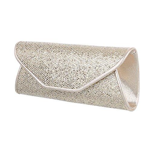 Ital-Design - Cartera de mano con asa para mujer dorado