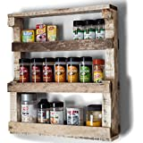 Cheap VinoPallet Wood Spice Rack Organizer, Wall Mounted, Hand Made Reclaimed Wood, Rustic Style – Natural Color