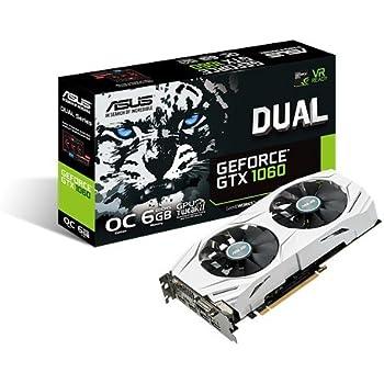 ASUS GeForce GTX 1060 6GB Dual-fan OC Edition VR Ready Dual HDMI DP 1.4 Gaming Graphics Card (DUAL-GTX1060-O6G)