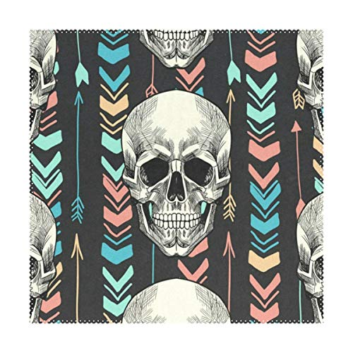 Placemats Vintage Tribal Ethnic Skulls Feathers Square Place Mats for Dining Table Set Heat Resistant Washable Polyester Kitchen Table Mats 1 piece