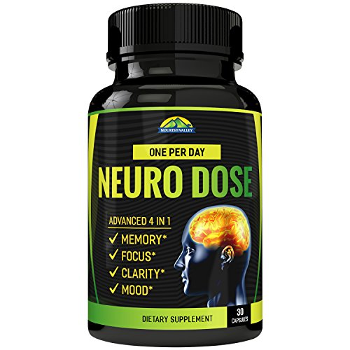 EzyAbsorb NeuroDose - Memory, Focus & Clarity Formula - One Per Day Herbal Nootropic Scientifically Formulated for Peak Performance - Bacopa, DMAE, Rhodiola, Ginkgo Biloba, PS100, Ginseng & More