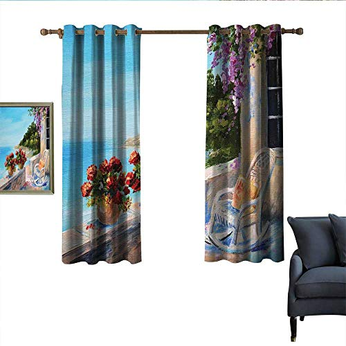 longbuyer Seascape Blackout Curtains Sea View Balcony with Cosy Rocking Chair Flowers in Summer Sky Oil Painting Style Home Garden Bedroom Outdoor Indoor Wall Decorations 63
