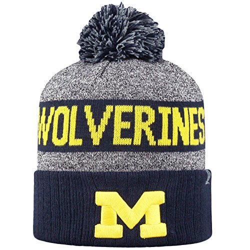 (Top of the World NCAA Arctic Striped Cuffed Knit Pom Beanie Hat-Michigan Wolverines)