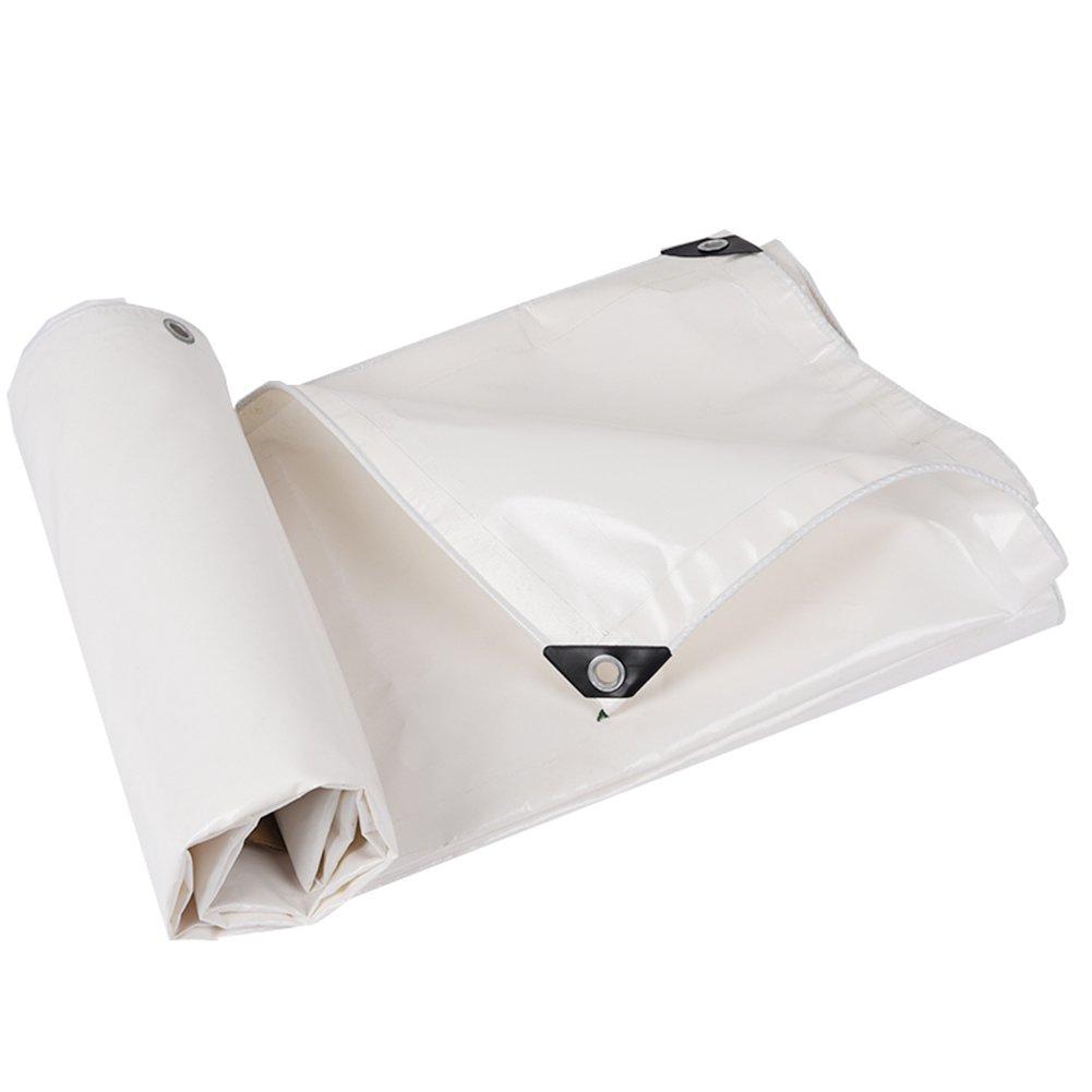 TLMYDD 厚手の白い防水布の雨の布の日焼け止めの防水布の天井の布の屋外の防水布の伸縮性のある段階のテントの布 ターポリン (色 : 白, サイズ さいず : 3x3m) 3x3m 白 B07L64Q894