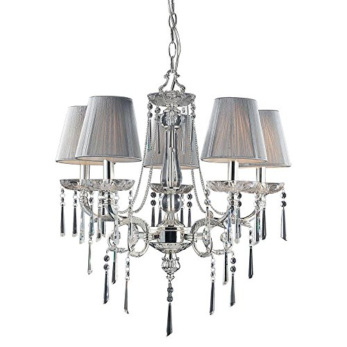 (Titan Lighting Princess 5-Light Polished Silver Ceiling Mount Chandelier)
