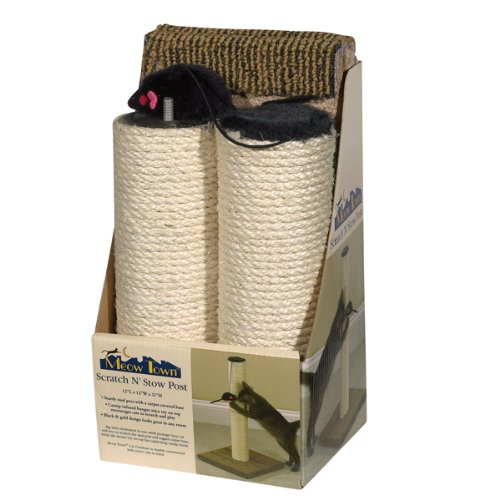 Meow Town Sisal Scratch N' Stow Scratching Cat Post, Natural, My Pet Supplies
