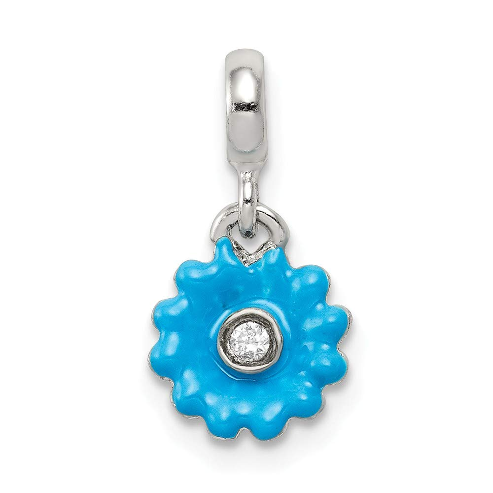 925 Sterling Silver Blue Enamel Flower with Cubic Zirconia Enhancer Pendant
