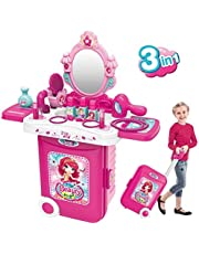 Role Play Vanity Jewelry Play Kit 3 in 1 Girls Makeup Dressing Table with Light Mirror Hair Dryer Accessorie Gift Toy for Kids