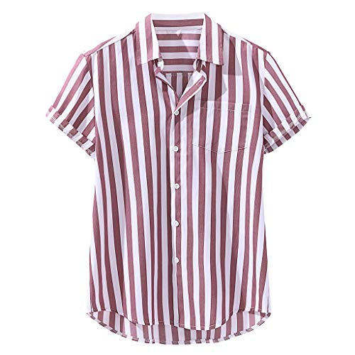 Mens Chest Pocket Short Sleeve Round Hem Loose Shirts Striped Print Linen Blouse, MmNote Red