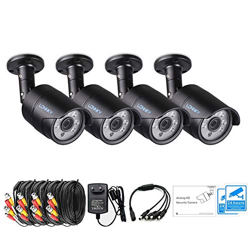 LONNKY 4 Pack 1080p Outdoor Indoor Day Night Vision Weatherproof 6pcs IR Infrared LEDs Security Cameras Kits, 120ft IR Distance, Aluminum Metal -