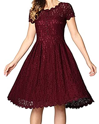 Angerella Women's Retro Floral Lace Cap Sleeve Vintage Bridesmaid Cocktail Dress