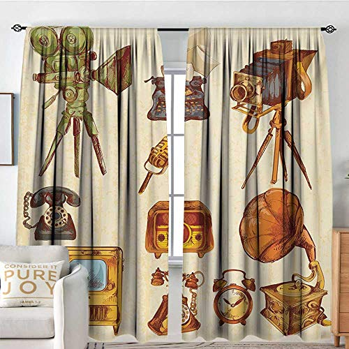Petpany Blackout Curtains for Bedroom Vintage,Retro Technologic Telephone Camera Television and Gramophone Artwork,Cream and Pale Caramel,Thermal Insulated Darkening Panels for Cafe Windows 84