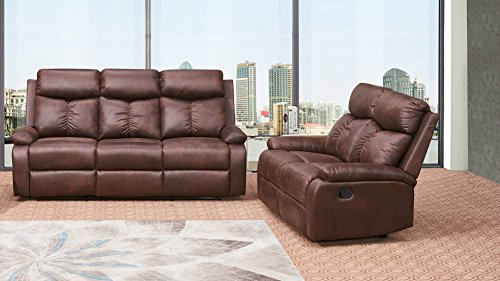 Betsy Furniture 2-PC Microfiber Fabric Recliner Sofa Set Living Room Set in Brown, Sofa Loveseat Chair Pillow Top Backrest and Armrests 8065-32