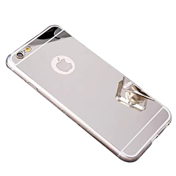EUWLY Compatibile con iPhone 6 Plus/iPhone 6s Plus Carcasa de Silicona Espejo, Silver