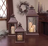 Set of 3 Cottage-Style Brown Pillar Candle Holder Lanterns 24''