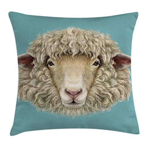 (Ambesonne Humor Throw Pillow Cushion Cover, Portrait of Ram Sheep Goat Head Meadow Mammal Hipster Retro Style Graphic Art, Decorative Square Accent Pillow Case, 20 X 20 Inches, Turquoise Tan)