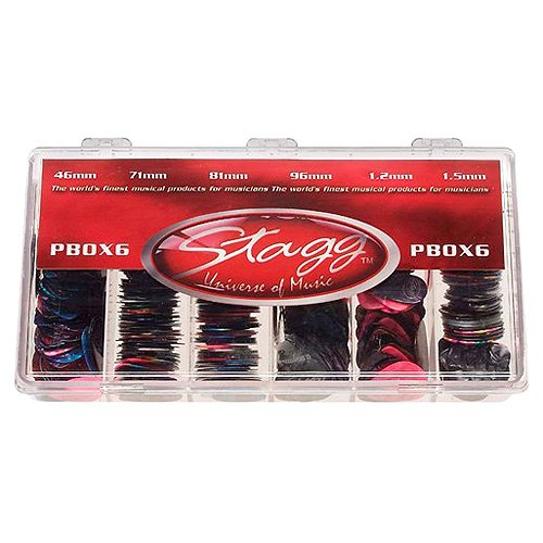 Stagg PBOX6 Display Box w/ 600 pcs. Celluloid Standard Picks (assorted colours/6 gauges)