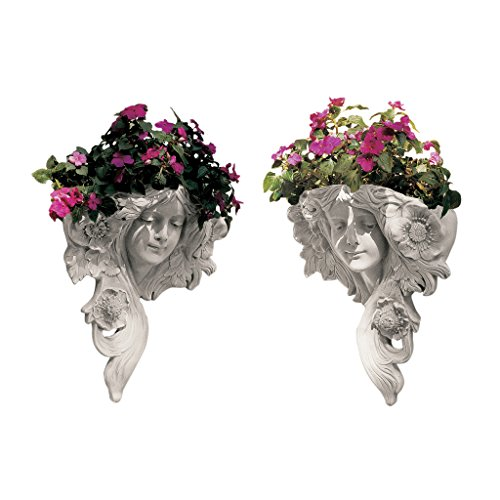 Design Toscano Le Printemps and Le Etoile French Greenmen Wall Sculptures Planter Pockets, 15 Inch, Set of Two, Polyresin, Antique Stone (Design Planter Wall)