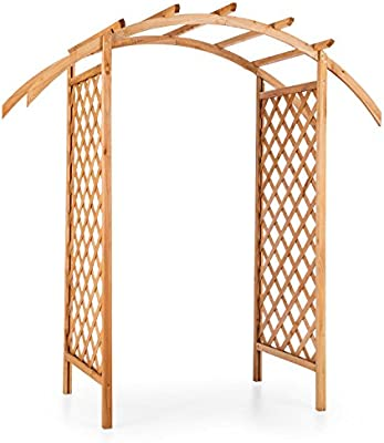 Blumfeldt Puerta del Sol • Arco para rosal • Pérgola abierta • De madera maciza de conífera • Resistente a la intemperie • Paneles laterales • Tonos rojos: Amazon.es: Jardín