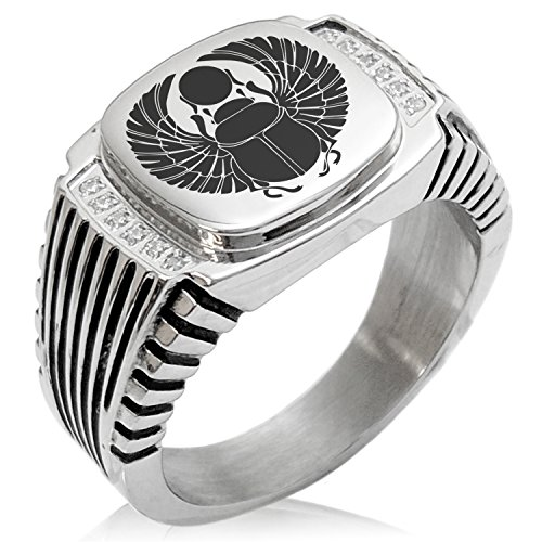 Two-Tone Stainless Steel Scarab Beetle Rising Sun Engraved Clear Cubic Zirconia Ribbed Needle Stripe Pattern Biker Style Polished Ring, Size 13 (Grade Ribbed Pattern)