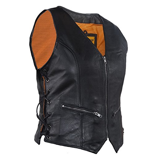 Vest Zip Front (Ultimate Leather Apparel Women's Naked Leather Motorcycle Vest Zip Front With Concealed Carry (L, Black))