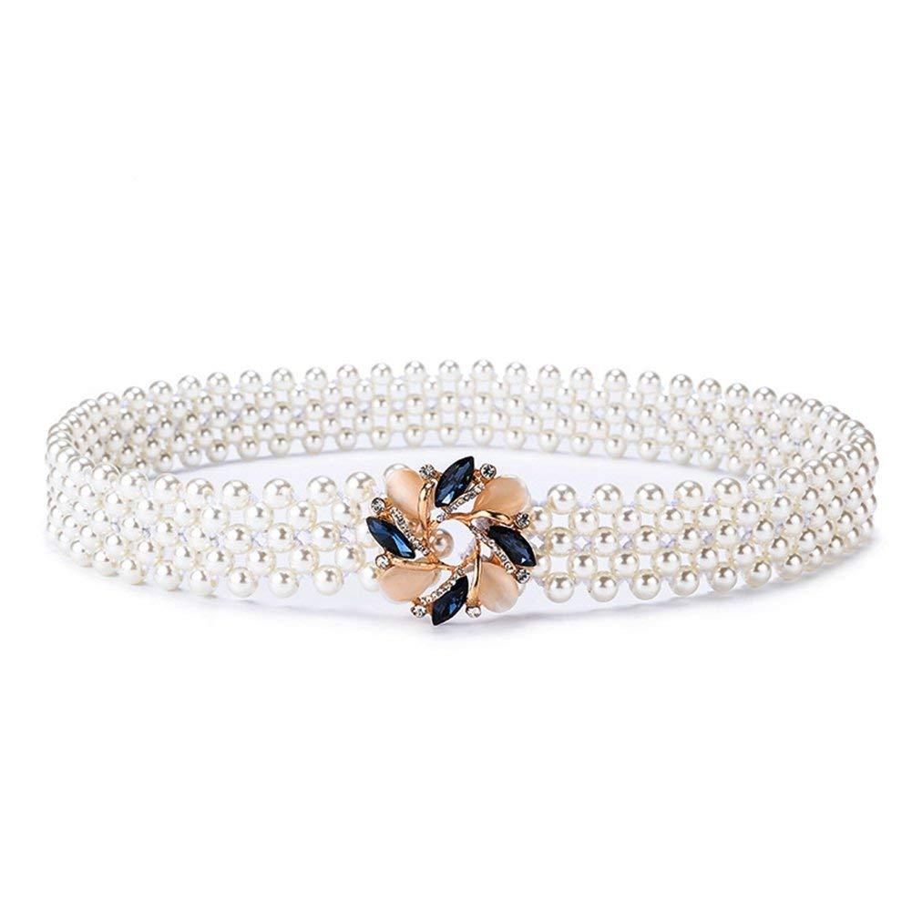 BGRFEB Women's belt ladies belt Pearl waist belt  Imitation pearls  1.2 Wide  white (color   White a)