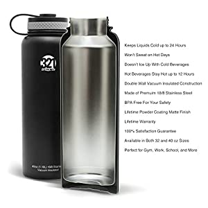 Vacuum Insulated Wide Mouth Stainless Steel Sweat Proof Water Bottle , 40 Ounce , Brushed