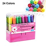 water based mixing medium - Magicdo 24 Colors Kids Markers with Stamps Bonus, Washable Fine Tip Coloring Marker Pens with Storage Case
